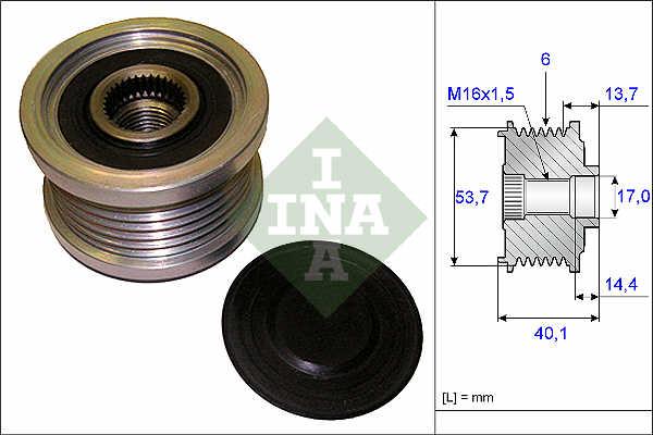 OPEL ZAFIRA C 1.4 Overrunning Alternator Pulley 2011 on Clutch INA 1204178 New