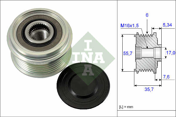 Overrunning Alternator Pulley fits KIA SPORTAGE 2.0D 2004 on Clutch INA Quality