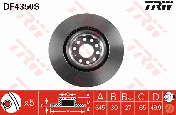 Brake Discs 345mm Vented VW EOS 2.0 TDI 16V 3.2 V6 Front Delphi Brake Pads