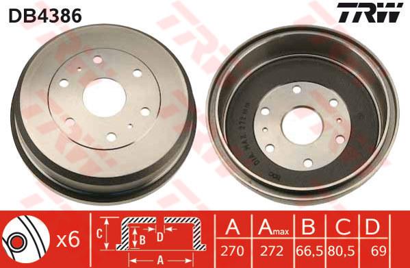 Brake Drum fits TOYOTA HI-ACE Mk4 Rear 2.4 2.4D 95 to 06 270mm TRW 4243126180