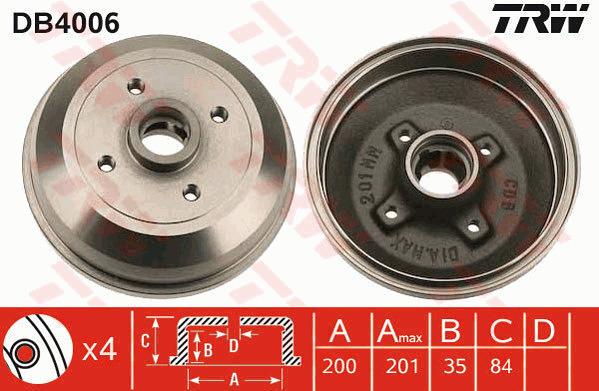 1 X Arrière Tambour De Frein Seat Inca 96-03 VW CADDY 96-04 230 mm Dia