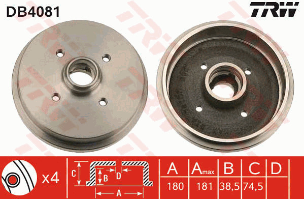 Brake Drum 180mm BDR131 Quinton Hazell 171501615 171501615A 171501615B Quality