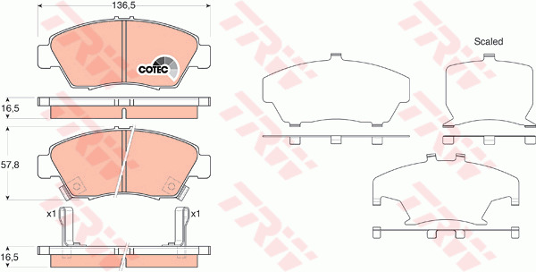 Brake Pad Fitting Kit fits HONDA CIVIC EK3 1.5 Front 95 to 01 With ABS D15Z6 ADL