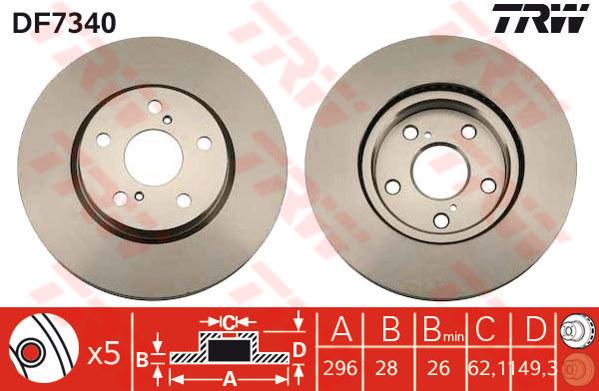 2x Disques De Frein ventilé 296 mm BBD4805 Borg /& Beck Set 4351230310 4351206131 Paire