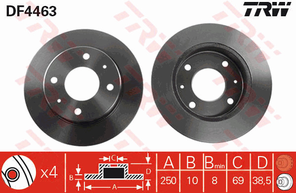 Solid 302mm BBD4820 Borg /& Beck Set 04743999AA 4743999AA Pair 2x Brake Discs