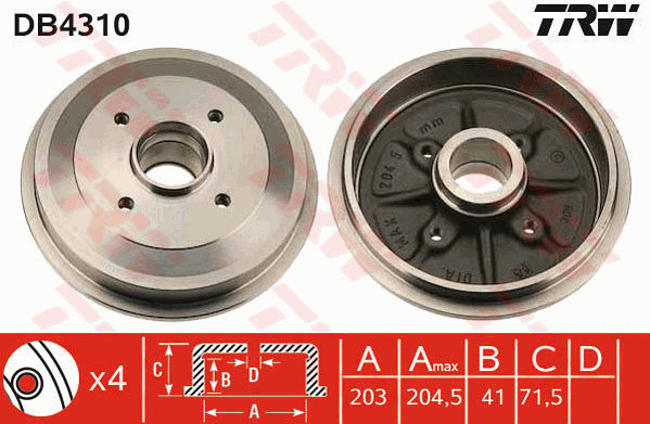 424746 424749 424759 New EB0 Brake Drum fits PEUGEOT 208 1.0 Rear 2012 on ZMZ