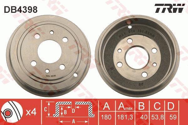 ORIGINALE TRW tamburo del freno freno a tamburo posteriore Fiat