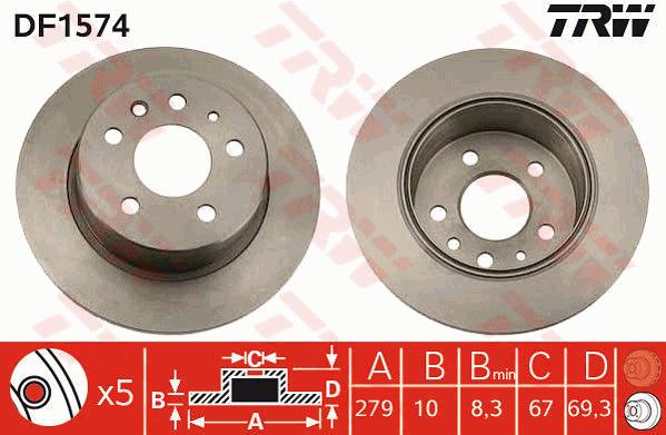 Solid Rear 238.8mm HON152 Juratek Set 42510T5B950 Quality 2x Brake Discs Pair
