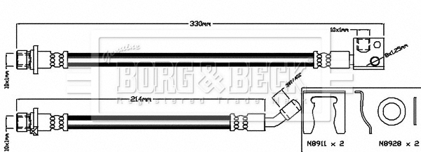 Brake Hose BBH8035 Borg /& Beck Hydraulic 01468SMGE00 Genuine Quality Guaranteed