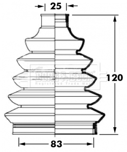 FIAT FIORINO 225 1.3D CV Joint Boot Kit Front Outer 2009 on C.V. Driveshaft B&B