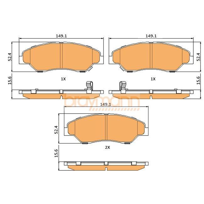 Brake Pads Set fits KIA SPORTAGE 2.0 Front 366073RMP Braymann Quality New