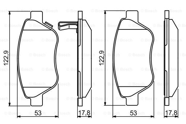 VAUXHALL Corsa D 1.0 Set Pastiglie Freno Anteriore Bosch 06 al 14 1605153 1605 388 1605258
