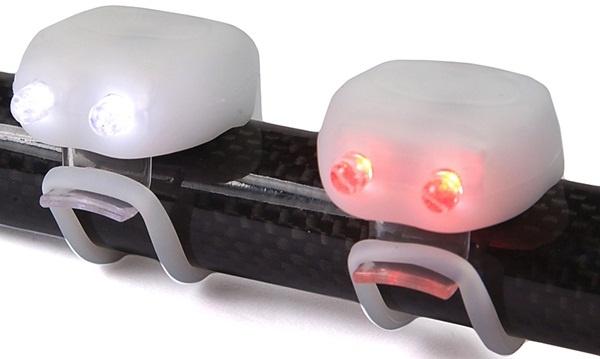 Mega Mini Twin LED's Silicone Bicycle Light Set - White Sport Direct SLMS5 New