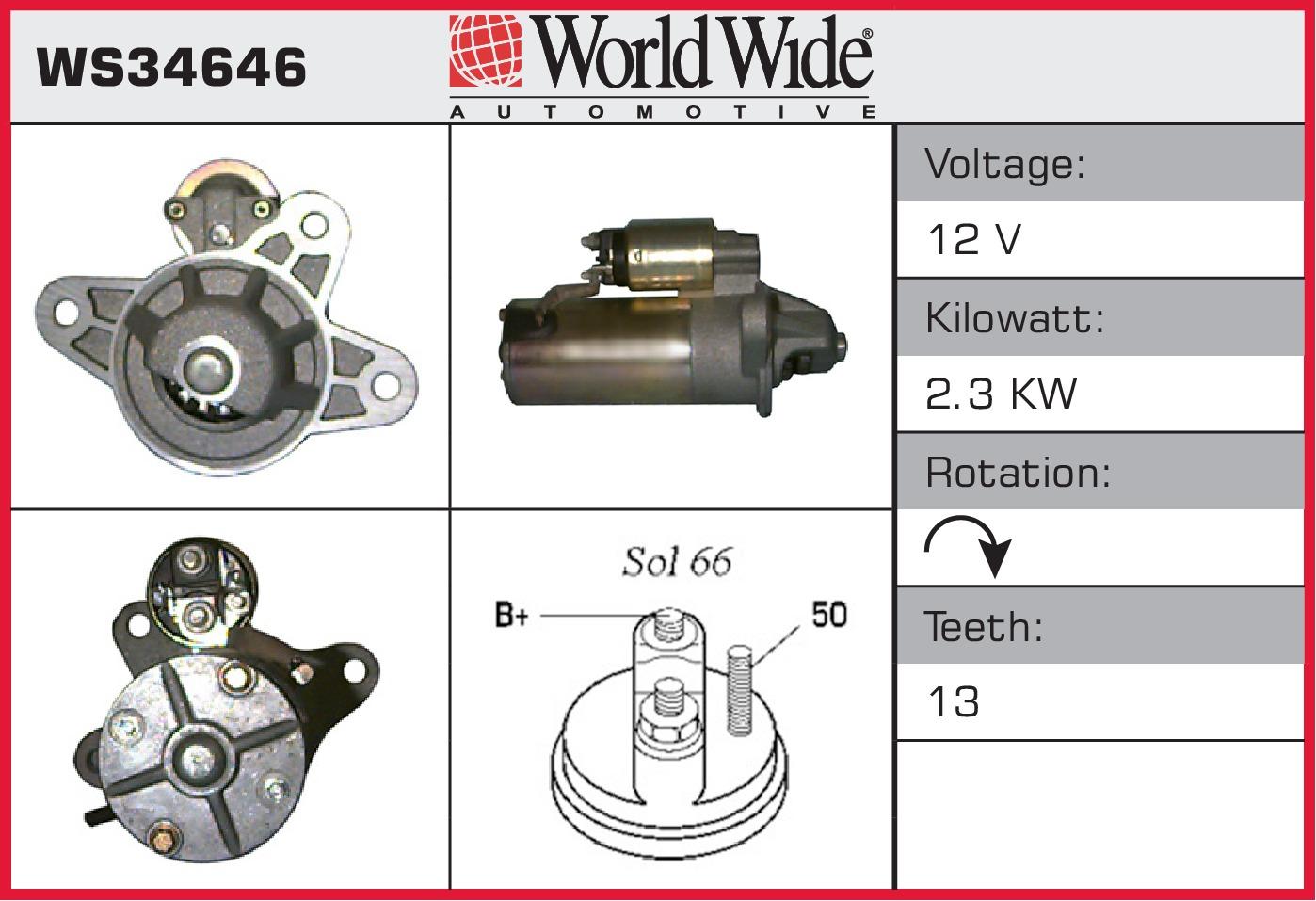 Starter Motor (Surcharge Free) WS34646 WWA Genuine Top Quality ...