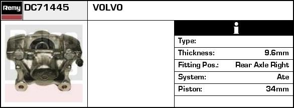 90-98 Volvo 780 2.0 2.4 2.8 940 2.0 2.3 2.4 85-91 Rear Right Caliper NEW
