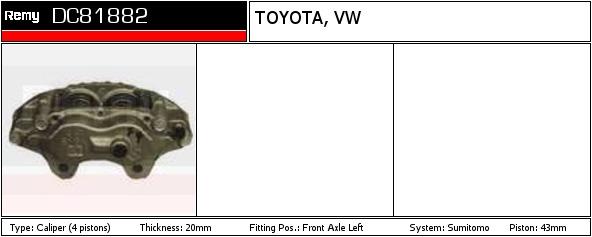 Pinza-de-freno-encaja-Toyota-Land-Cruiser-J7-3-4D-delantero-izquierdo-de-90-a-96-3B-Remy miniatura 2