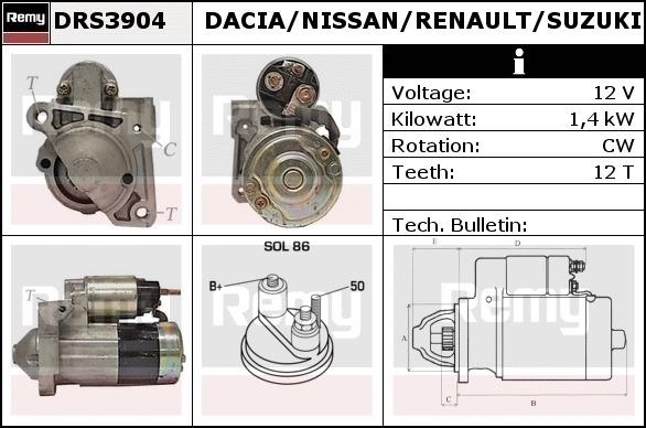 NISSAN MICRA K12 RENAULT CLIO KANGOO SCENIC 1.5 DCI STARTER MOTOR 8200227092