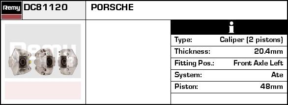 PORSCHE 911 3.2 Brake Caliper Front Left 86 to 89 930.25 Remy 91135142503