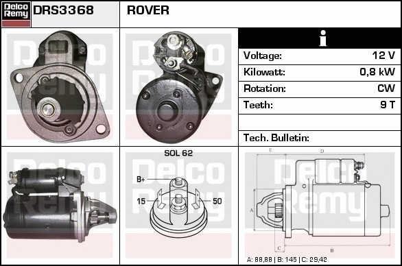 Fits ROVER MGB GTMGB Roadster Starter Motor 1969-1981 16553UK